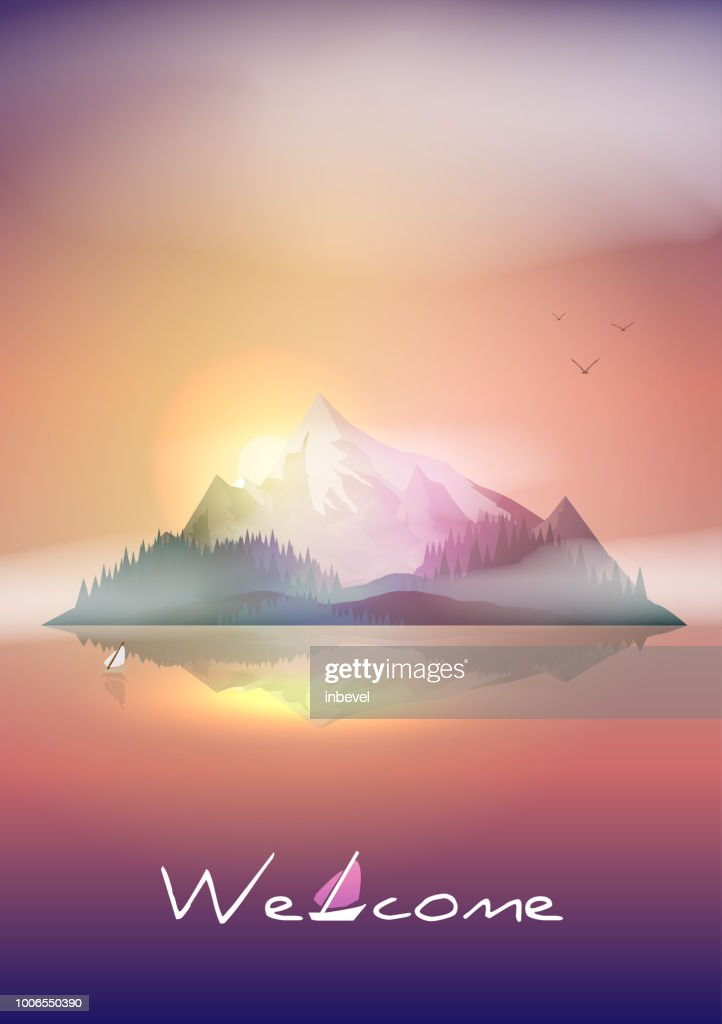 Mountains Island Sunset Landscape in the Sea  - Vector Illustration