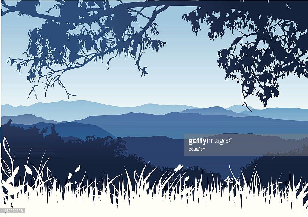 Town Landscape Vector Illustration: Mountains Landscape Vector Art