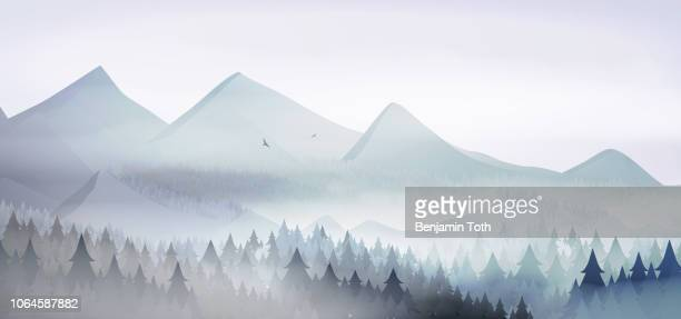 mountains landscape with pine forest in winter time - fog stock illustrations