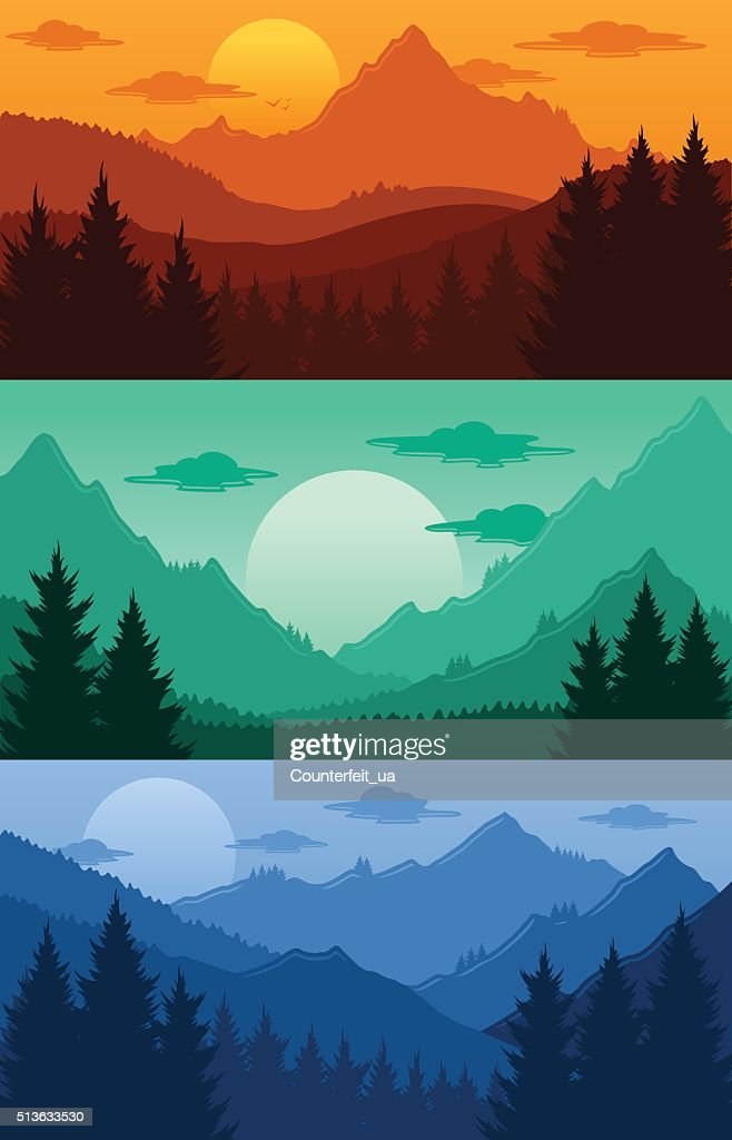 Mountains landscapes vector illustration
