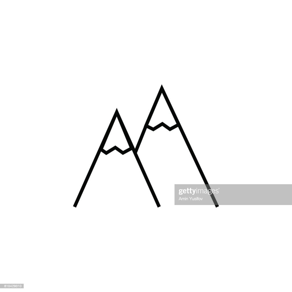 Mountains line icon, navigation and travel sign