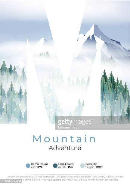 mountains poster with pine forest, lake and  summer camp - mountain logo stock illustrations