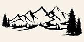 Mountains silhouettes. Mountains vector, Mountains vector of outdoor design elements, Mountain scenery, trees, pine vector, Mountain scenery illustration.
