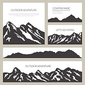 Mountains silhouettes on white background. Outdoor cards design.