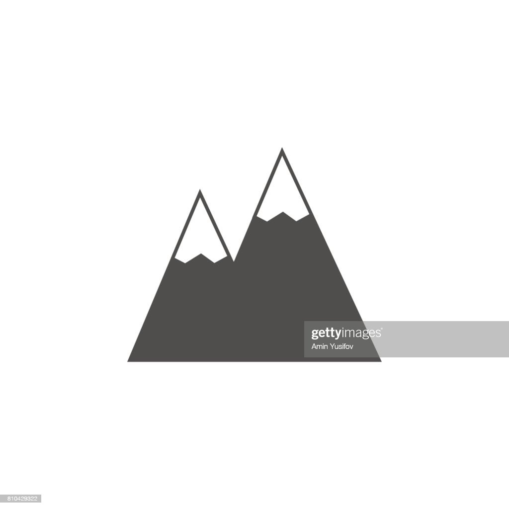 Mountains solid icon, navigation and travel sign
