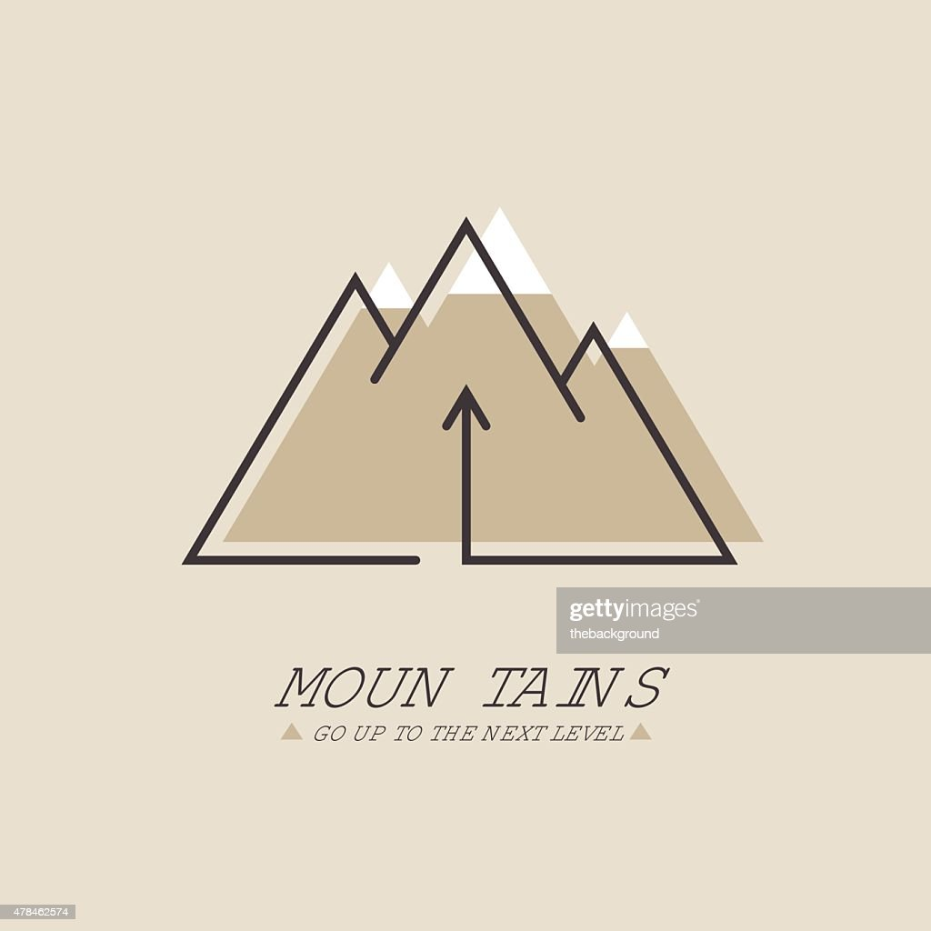 Mountains, Vector logo in line style. Mono line logotype