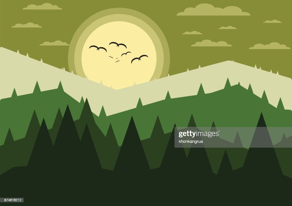 Mountains with forest landscape, Nature Background,Vector illustration