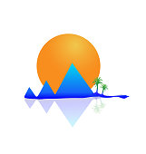 Mountain,sun and palm tree icon vector image template