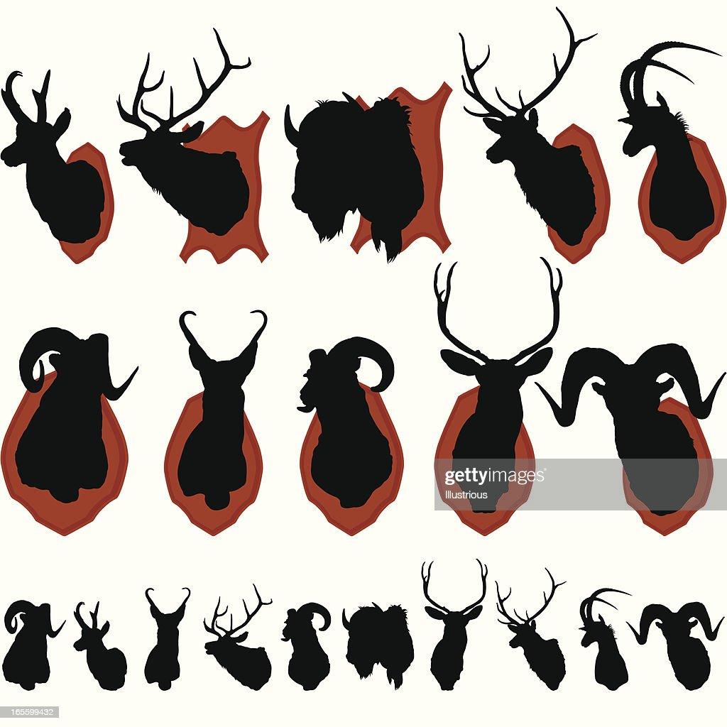 Mounted Animal Heads Silhouette Set