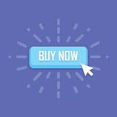 Mouse click on buy now button icon. Vector illustration