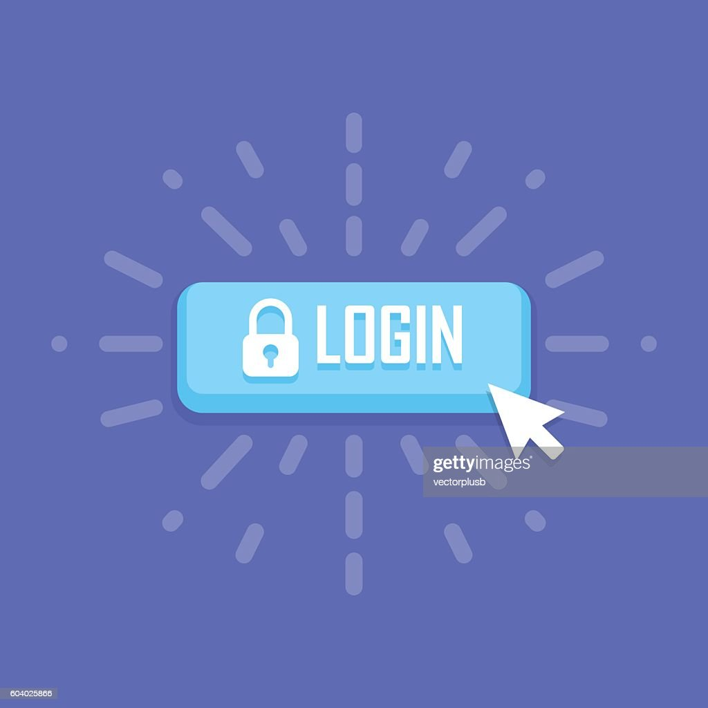 Mouse click on login icon. Vector illustration