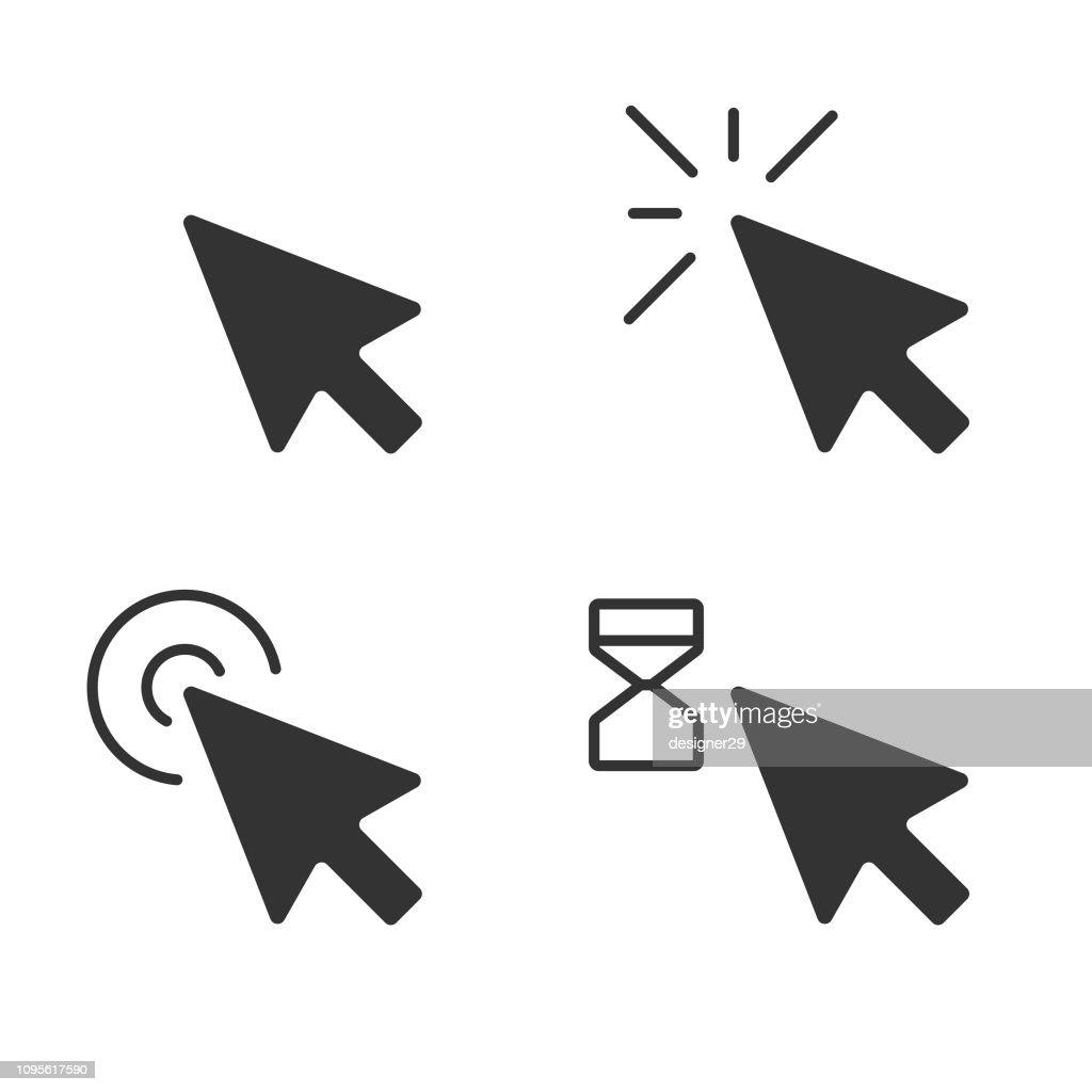 Muisaanwijzer pictogram clickset en Computer muis plat Design. : Stockillustraties
