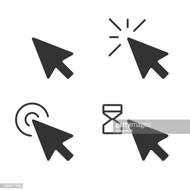 mouse click pointer icon set and computer mouse flat design. - aiming stock illustrations