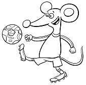 mouse football player character coloring book