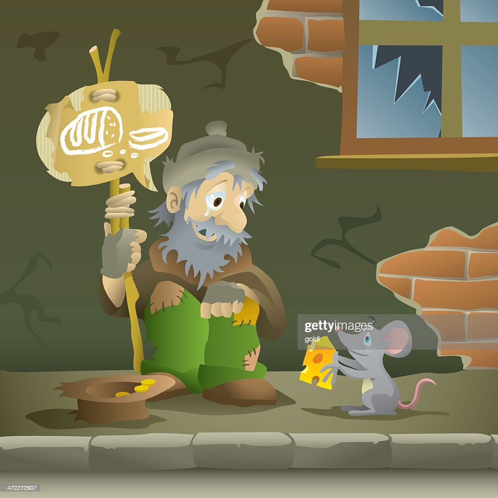Mouse Giving Hungry, Homeless Man Cheese