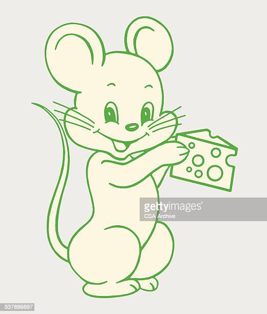 mouse holding cheese - cute mouse stock illustrations