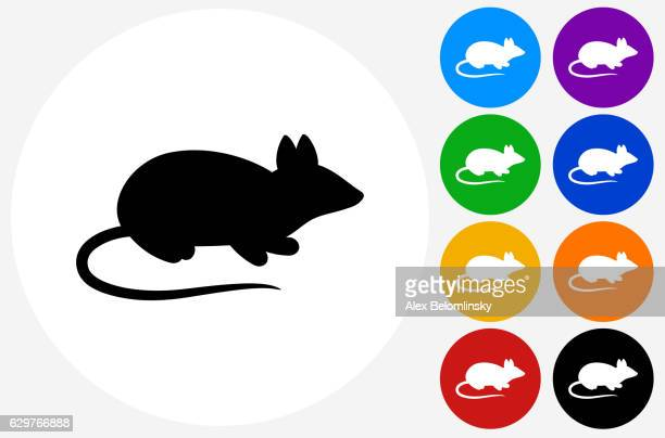 Mouse Icon on Flat Color Circle Buttons