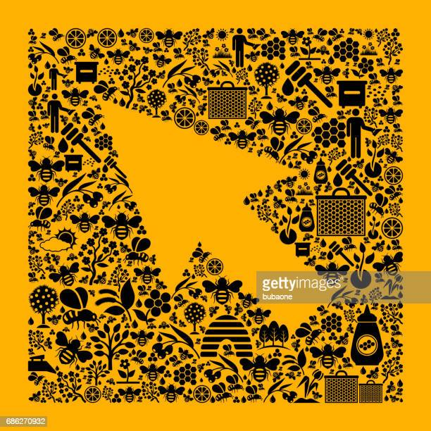 Mouse Pointer Bee and Honey Vector Icons Background