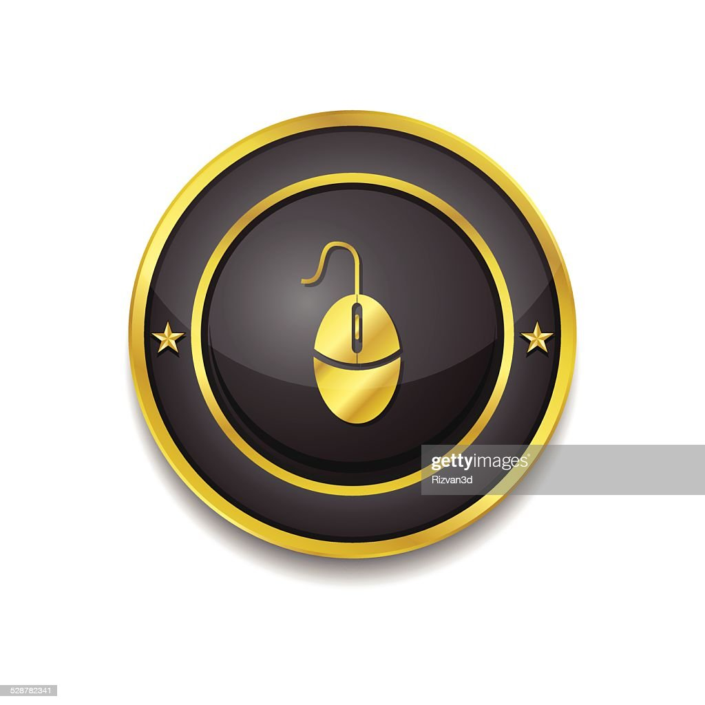 Mouse Sign Gold Vector Icon Button
