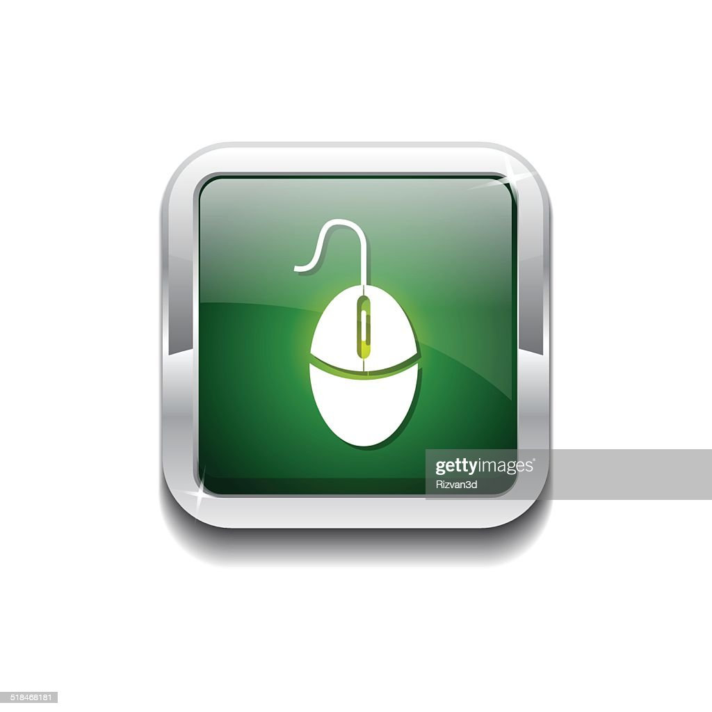 Mouse Sign Green Vector Icon Button