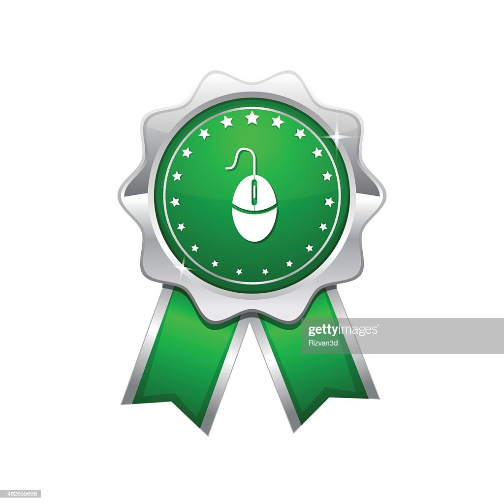 Mouse Sign Green Vector Icon Design