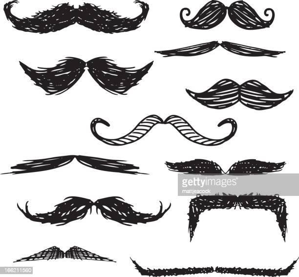 moustache doodles - mustache stock illustrations