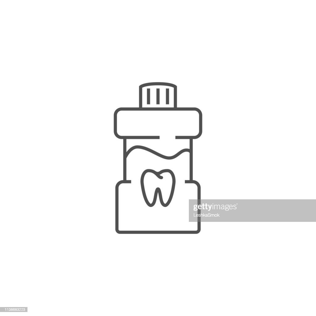 Mouth Rinse Line Icon