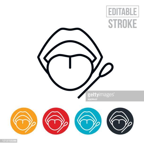 mouth swab thin line icon - editable stroke - saliva bodily fluid stock illustrations