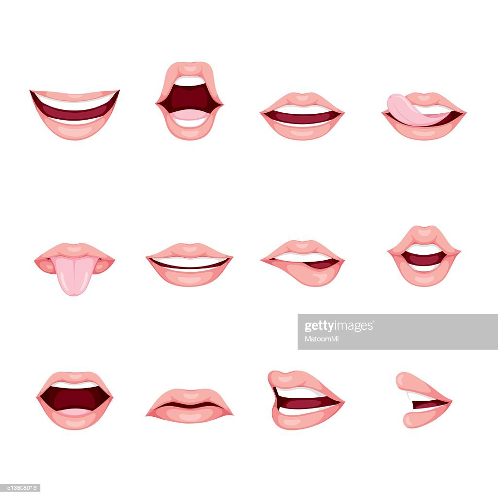 Mouths Set With Various Expressions