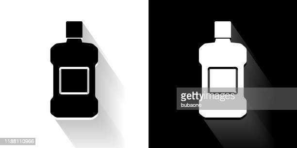 mouthwash  black and white icon with long shadow - mouthwash stock illustrations