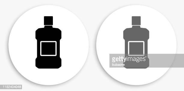 mouthwash black and white round icon - mouthwash stock illustrations