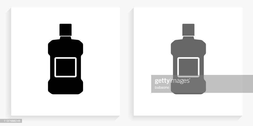 Mouthwash Black and White Square Icon : stock illustration