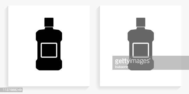 mouthwash black and white square icon - mouthwash stock illustrations