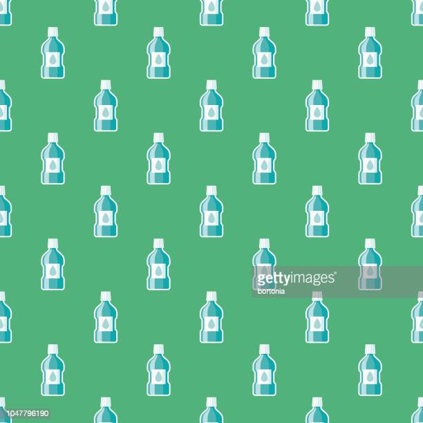mouthwash dental health seamless pattern - mouthwash stock illustrations, clip art, cartoons, & icons
