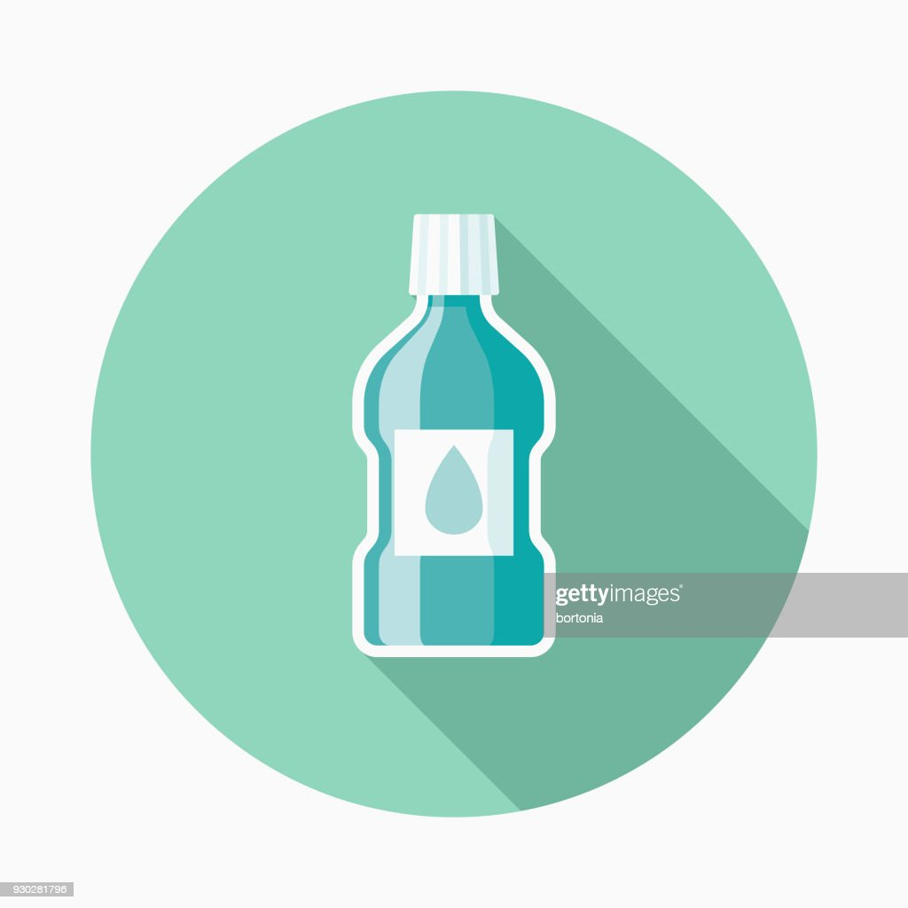 Mouthwash Flat Design Dentist Icon with Side Shadow : stock illustration