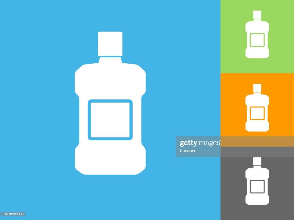Mouthwash  Flat Icon on Blue Background : stock illustration