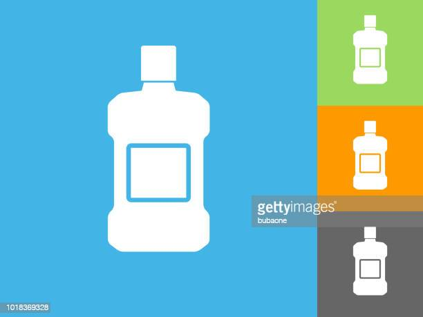 mouthwash  flat icon on blue background - mouthwash stock illustrations, clip art, cartoons, & icons