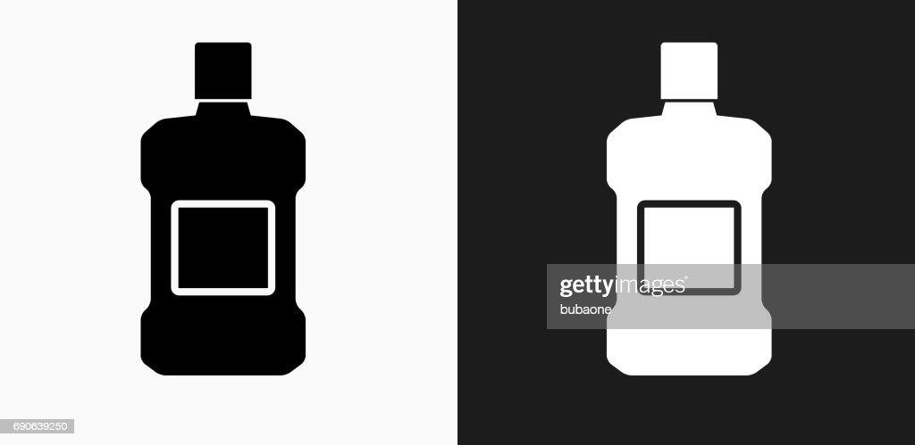 Mouthwash Icon on Black and White Vector Backgrounds : stock illustration
