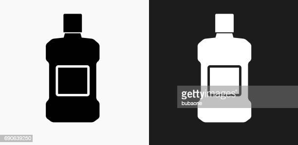 mouthwash icon on black and white vector backgrounds - mouthwash stock illustrations, clip art, cartoons, & icons