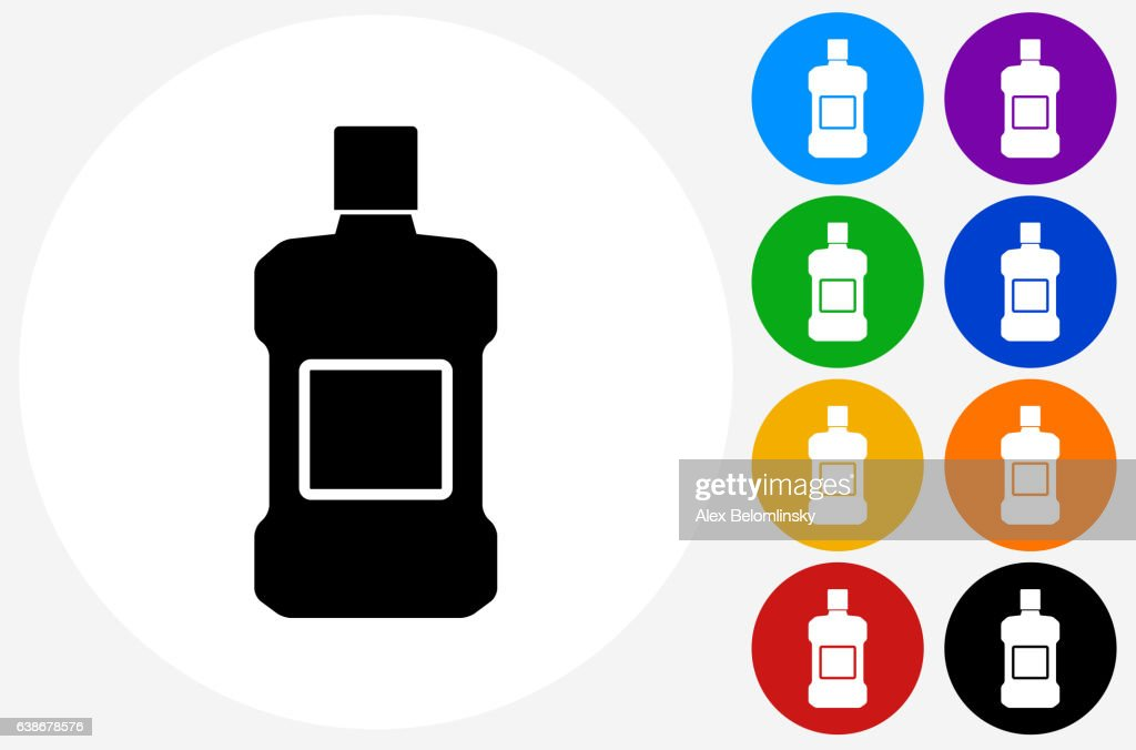 Mouthwash Icon on Flat Color Circle Buttons : Stock Illustration