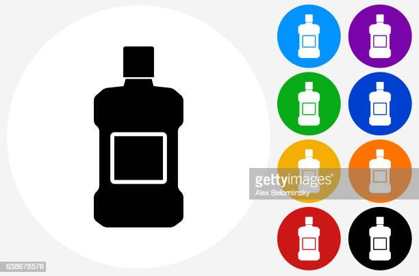 mouthwash icon on flat color circle buttons - mouthwash stock illustrations, clip art, cartoons, & icons