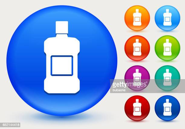 mouthwash icon on shiny color circle buttons - mouthwash stock illustrations