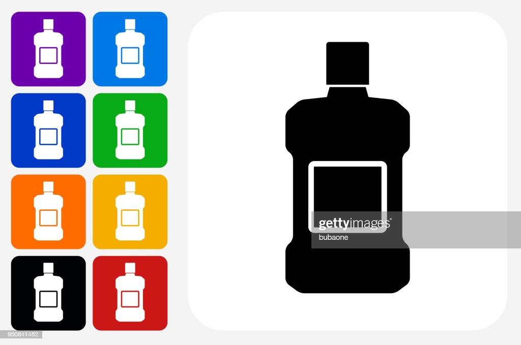 Mouthwash Icon Square Button Set : Stock Illustration