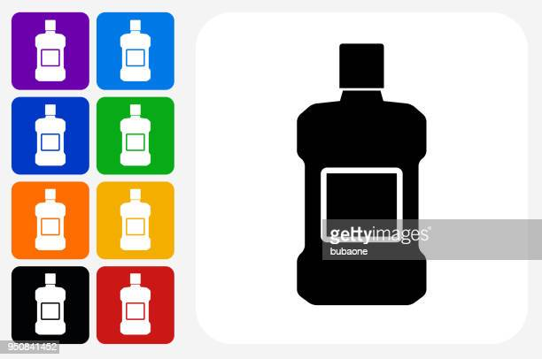 mouthwash icon square button set - mouthwash stock illustrations, clip art, cartoons, & icons