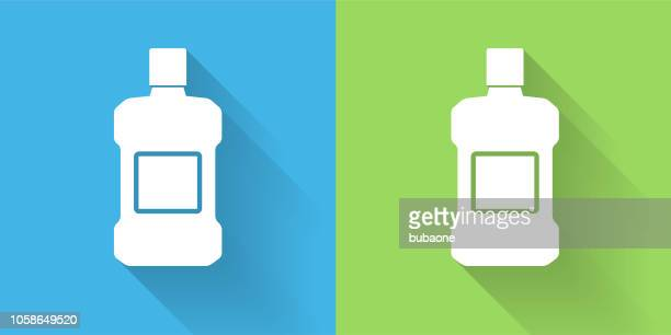 mouthwash icon with long shadow - mouthwash stock illustrations, clip art, cartoons, & icons