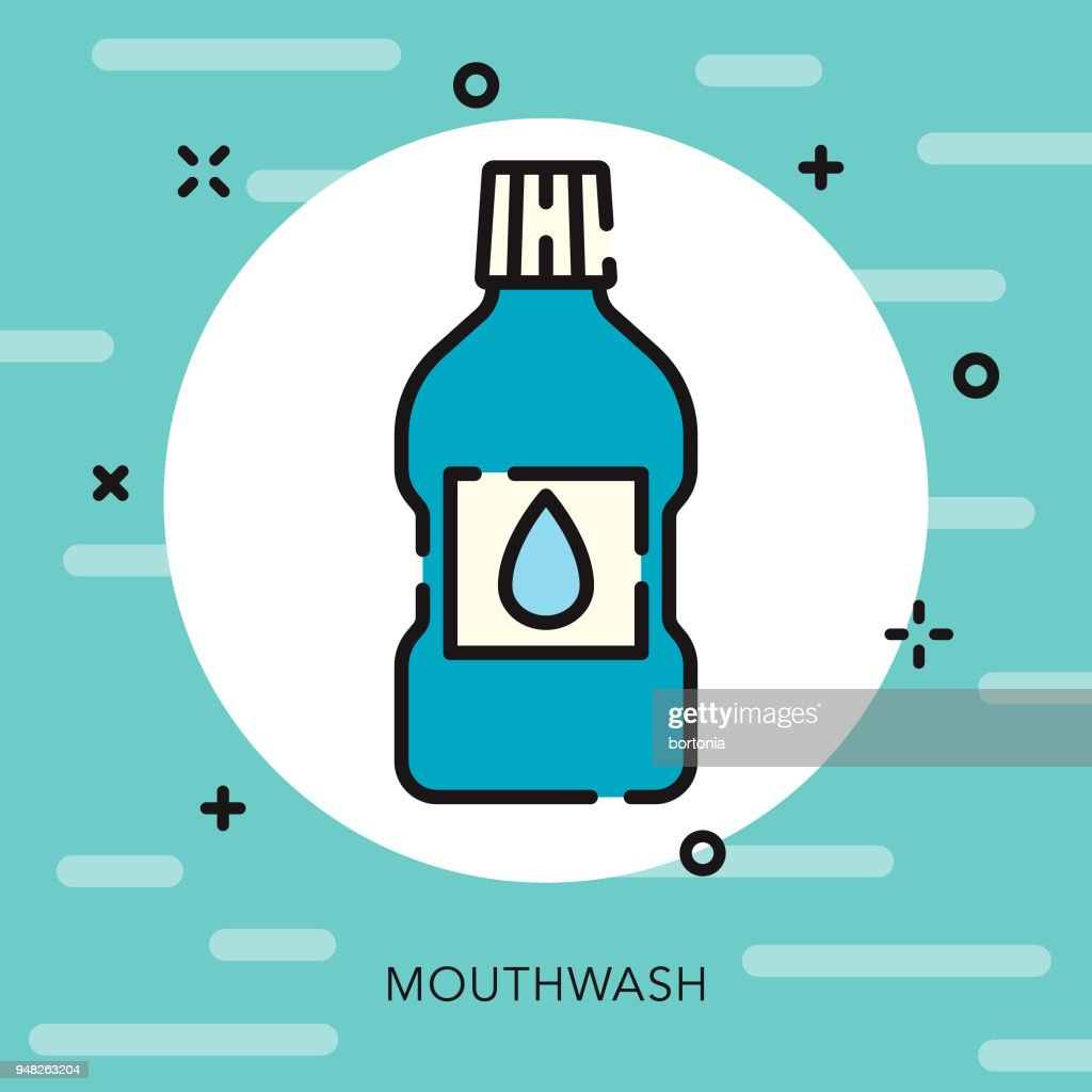 Mouthwash Open Outline Dentist Icon : Stock Illustration