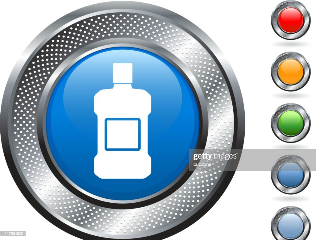 mouthwash royalty free vector art on metallic button : stock illustration