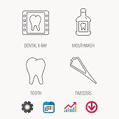 Mouthwash, tooth and dental x-ray icons.