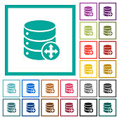 Move database flat color icons with quadrant frames
