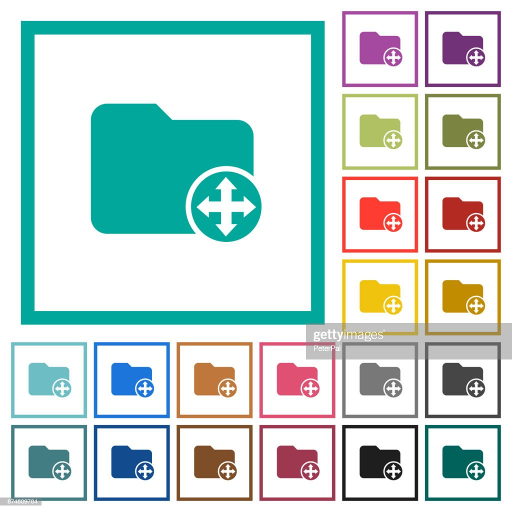 Move Directory Flat Color Icons With Quadrant Frames Vector Art ...